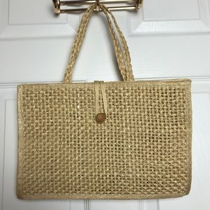 Vintage Folding straw shopper bag